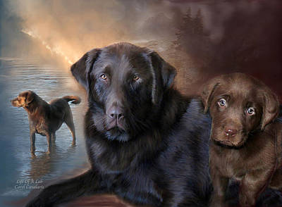 Puppies Mixed Media - Life Of A Lab by Carol Cavalaris