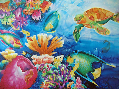Parrotfish Painting - Life On The Ledge by Deborah Younglao