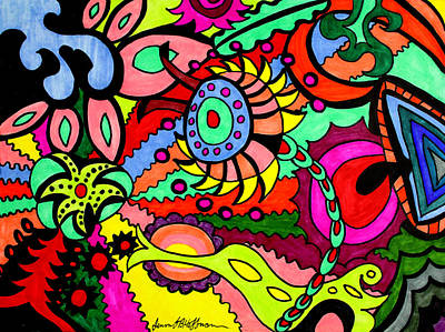 Colorful Abstract Drawing - Life Out There by Jennifer Hoffman