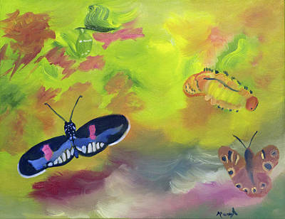 Painting - Life Stages Of A Butterfly by Meryl Goudey