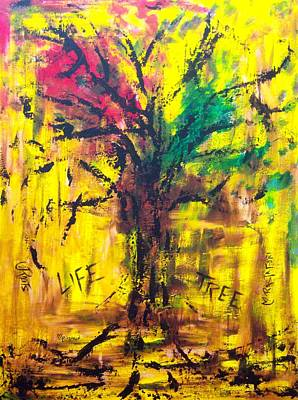 Tree Roots Painting - Life Tree by Rhiannon Marhi