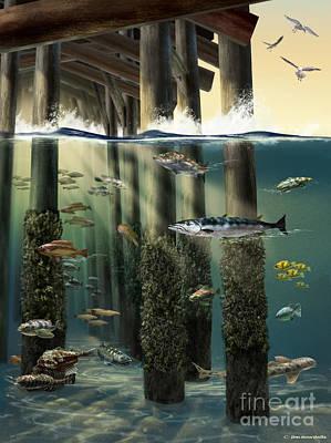Life Under An Ocean Pier Art Print