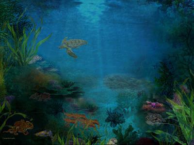 Digital Art - Life Under The Deep Blue Sea by Joan Scarbrough