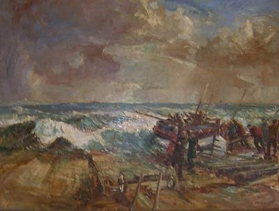 Overtake Painting - Lifeboat Launch by G Chalker     C1960