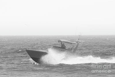 Photograph - Lifeguard Boat In Black And White by Leah McPhail