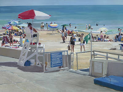 Sewing Room Painting - Lifeguard On Duty by Thomas Tribby