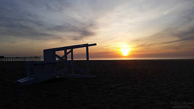 Photograph - Lifeguard Stand And Sunrise by Robert Banach