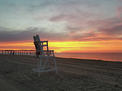 Photograph - Lifeguard Stand On The Beach At Sunrise by Robert Banach