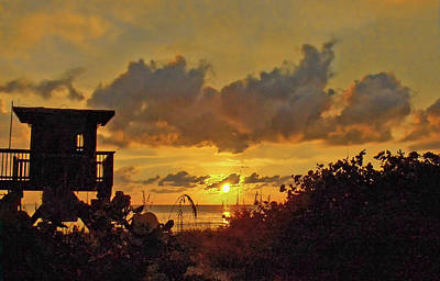 Photograph - Lifeguard Station At Sunset by HH Photography of Florida