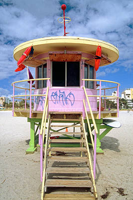 Lifeguard Station South Beach Miami  Florida Art Print by George Oze