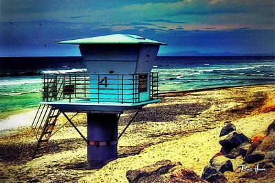 Ocean Digital Art - Lifeguard Tower 4 - Del Mar by Russ Harris
