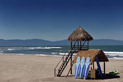Nuevo Vallarta Photograph - Lifeguard Tower And Activity Hut On Beach Of Nuevo Vallarta Mexi by Reimar Gaertner