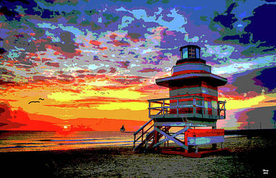 Pro Mixed Media - Lifeguard Tower At Miami South Beach, Florida by Charles Shoup