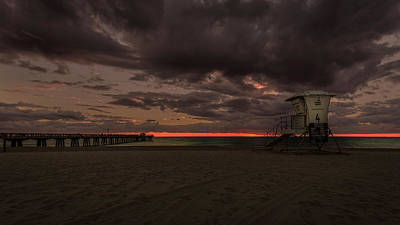 Lifeguard Tower At Sunrise Art Print