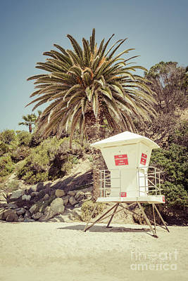 Orange County Photograph - Lifeguard Tower Laguna Beach Retro Picture by Paul Velgos