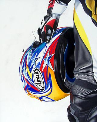 Self Portrait Motorcycle Arai Helmet Leather Suit Figurative Realism Painting - Lifeline by Ian Hemingway