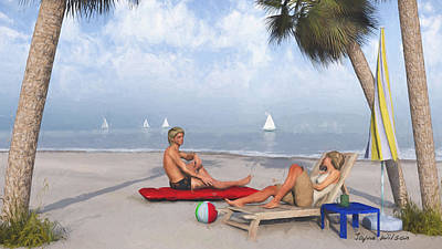 Art Print featuring the digital art Life's A Beach by Jayne Wilson