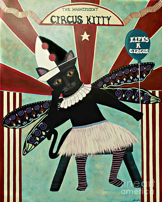Painting - Life's A Circus - Number 3 In Circus Kitty Series by Jean Fry