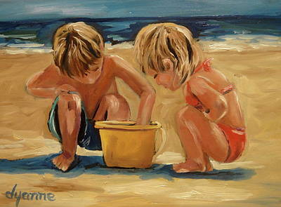 Little Girl On Beach Painting - Life's Little Treasures by Dyanne Parker