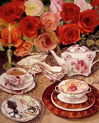 Tea Party Painting - Life's Too Short. Eat Desert First by Carol VonBurnum