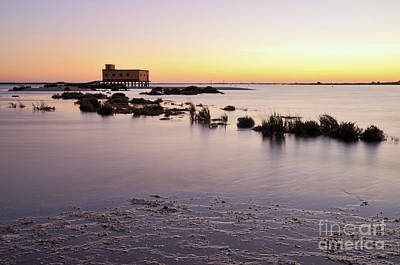 Lifesavers Building And Tides In Fuzeta Art Print by Angelo DeVal