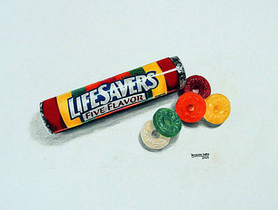 Candy Drawing - Lifesavers by Duncan  Way