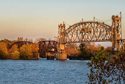 Lift Bridge At Sunset Art Print by James Barber