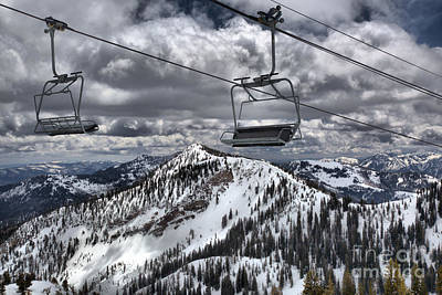 Photograph - Lift Chairs Above The Wasatch Peaks by Adam Jewell