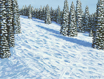 Ski Run Painting - End Of Day by Julie Ethridge