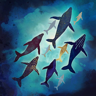 Whale Digital Art - Light Above by Spacefrog Designs