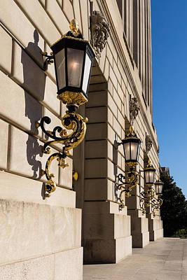 Photograph - Light And Shadow - Antique Gilded Lanterns On A Washington D C Facade by Georgia Mizuleva