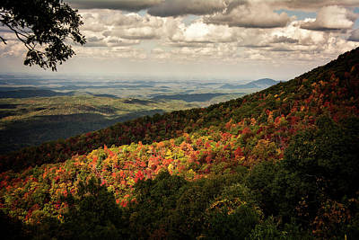 Autumn Photograph - Light And Shadow On Tennessee Mountains by Chrystal Mimbs