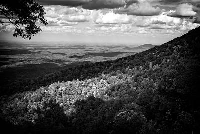 Autumn Photograph - Light And Shadow On Tennessee Mountains In Black And White by Chrystal Mimbs