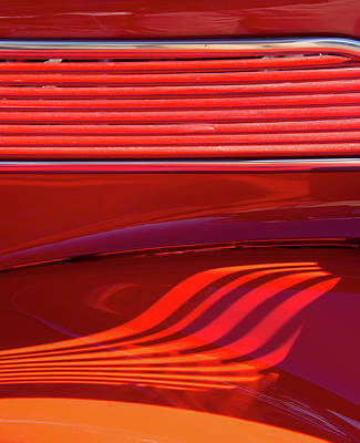 Photograph - Light And Shadows On Red Hot Rod by Gary Slawsky