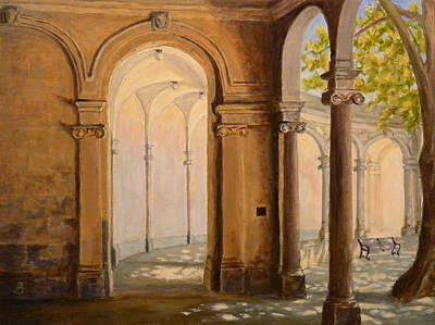 Art Print featuring the painting Light At The End Of The Tunnel Monmouth University by Joe Bergholm