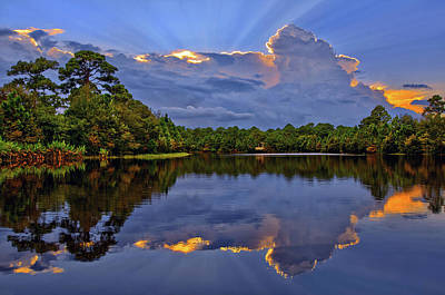 Photograph - Light Beam Sunset Over Hidden Lake In Jupiter Florida by Justin Kelefas
