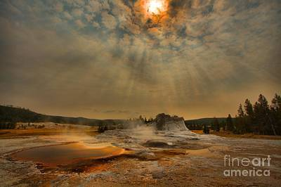 Photograph - Light Beams Over Castle Geyser by Adam Jewell