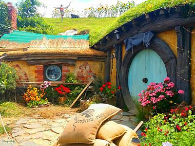 Light Blue Hobbit Door Art Print