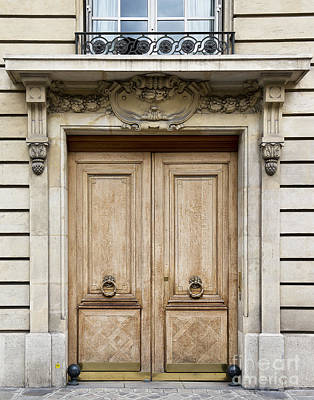 Photograph - Light Brown Paris Door With Knockers by Ivy Ho