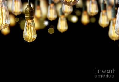 Light Bulb Background Art Print by Setsiri Silapasuwanchai