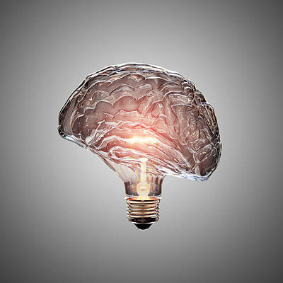 Surrealism Royalty-Free and Rights-Managed Images - Light Bulb Brain by Johan Swanepoel