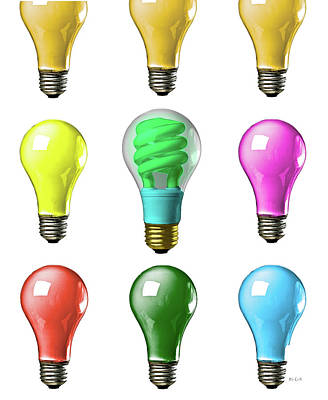 Concept Photograph - Light Bulbs Of A Different Color by Bob Orsillo