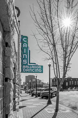 Cains Ballroom Photograph - Light-cain's Black And White With Starburst Turquoise Sign by Roberta Peake