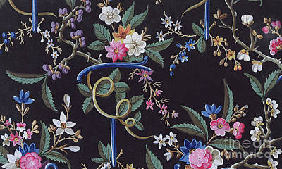 Tapestry - Textile - Light Colored Flowers On Dark Background, Textile Design by William Kilburn