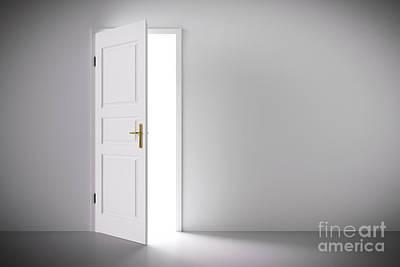 Door Photograph - Light Coming From Half Open Classic White Door. by Michal Bednarek