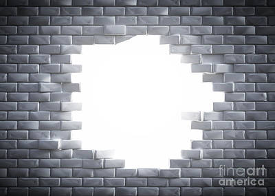 Light Coming Through A Hole In A Brick Wal Art Print by Michal Bednarek