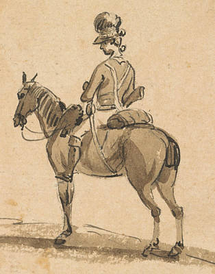 Paul Drawing - Light Dragoon, Mounted, Facing Left by Paul Sandby