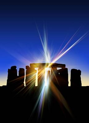 Light Flares At Stonehenge, Artwork Art Print by Victor Habbick Visions