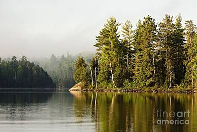 Photograph - Light Fog On Slim Lake by Larry Ricker