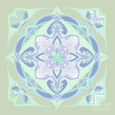 Drawing - Light Green Vector Mandala  by Sviatlana Kandybovich
